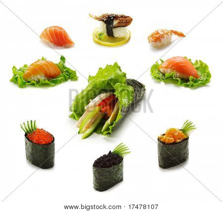 Постер, плакат: Различные виды суши и Gunkanmaki с темаки, холст на подрамнике
