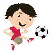 Постер, плакат: Kid игры в футбол