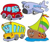 Various cartoon vehicles - vector illustration.