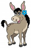Cute donkey with flower - vector illustration.