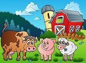 image of farm animals  - Three farm animals near barn  - JPG