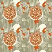 foto of nightingale  - seamless floral pattern - JPG