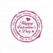 stock photo of valentines day  - Happy Valentine Day rubber stamp - JPG