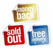 Free delivery, money back, sold out stickers set