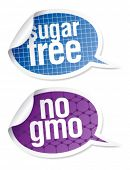 picture of hemoglobin  - Sugar free and GMO free food stickers set in form of speech bubbles - JPG