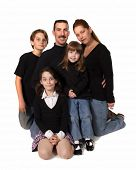 image of nuclear family  - Caucasian Family Portrait in Studio With White Background - JPG
