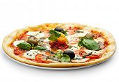 stock photo of pesto sauce  - Pizza with Mozzarella Cheese and Fresh Tomato and Pesto Sauce - JPG