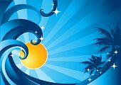image of summer fun  - A summer concept with waves palms and sunshine - JPG