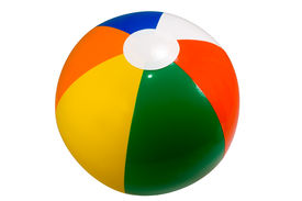 stock photo of beach-ball  - brightly colored beach ball isolated against a white background - JPG