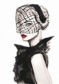 Hipster Girl. Hand Painted Fashion Illustration . Fall Trends. Fashion Trends. Fashion Illustration. poster