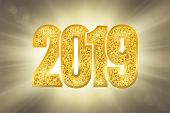 Happy New Year Shiny Gold Number 2019. Golden Glitter Digits On Sun Rays Bokeh Background. Shiny Glo poster