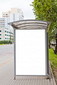 stock photo of bus-shelter  - Blank billboard on bus stop for your advertising - JPG
