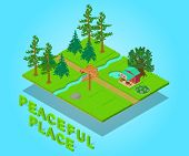 Peaceful Place Concept Banner. Isometric Banner Of Peaceful Place Vector Concept For Web, Giftcard A poster