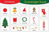 Scavenger Hunt, Christmas At Home, Different Colorful Pictures For Children, Fun Education Search Ga poster