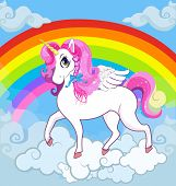 Multicolor Vector Cartoon Kids Illustration Of White Pony Unicorn Princess Character With Big Eyes,  poster