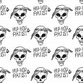 Rap Music. Hip Hop Doodle Pattern With Rap Attributes poster