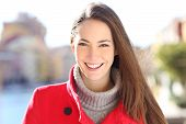 Front View Portrait Of A Happy Lady With Perfect Smile Looking At Camera In Winter poster