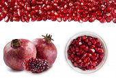 Slices Of Garnets, Two Garnet Fruit And Heap Of Pomegranate Seeds At The Border. Set Of Pomegranates poster