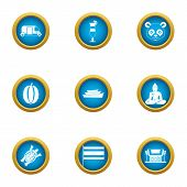 Asiatic Icons Set. Flat Set Of 9 Asiatic Icons For Web Isolated On White Background poster