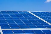 Solar Panels On The Sky Background. Solar Power Plant. Blue Solar Panels. Alternative Source Of Elec poster