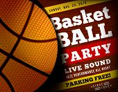 Basketball Party With A Basketball Ball On A Wooden Floor. Vector Illustration poster