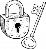 stock photo of pick-lock  - Doodle style antique lock and key illustration in vector format - JPG