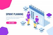 Sprint Planning Isometric Concept, Calendar Filling, Important Affairs Reminder, Organization Of Tas poster
