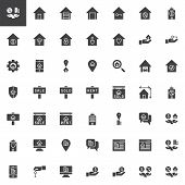Real Estate Vector Icons Set, Modern Solid Symbol Collection Filled Style Pictogram Pack. Signs Logo poster