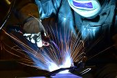Welder, Craftsman, Erecting Technical Steel Industrial Steel Welder In Factory poster