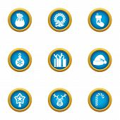 Xmas Spirit Icons Set. Flat Set Of 9 Xmas Spirit Icons For Web Isolated On White Background poster