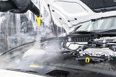 Car Detailing. Car Washing Cleaning Engine. Cleaning Car Engine Using Hot Steam. Hot Steam Engine Wa poster