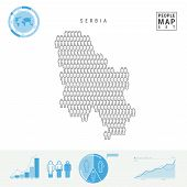 Serbia People Icon Map. People Crowd In The Shape Of A Map Of Serbia. Stylized Silhouette Of Serbia. poster