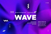 Ripple Of Wave Surface Concept. 3d Linear Template With Movement. Purple Abstract Background With Di poster