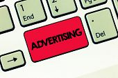 Text Sign Showing Advertising. Conceptual Photo Producing Advertisements For Commercial Products Or  poster