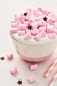 Hot Chocolate Or Cocoa With Whipped Cream And Pink Marshmallow Candy In Pink And White Mug With Pink poster