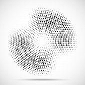 Halftone Circle Frame Dotted Background. Round Border Icon Using Halftone Random Circle Dots Raster  poster