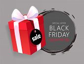 Special Advert On Black Friday, Wrapped Gift Box With Price Tag, November Total Sale Advertisement V poster