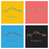 Ethanol Molecules In Volumetric Style. Vector Illustration Isolated On A Background. Scientific, Edu poster