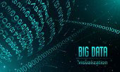 Big Data Visualization Banner. Realistic Illustration Of Big Data Visualization Vector Banner For We poster