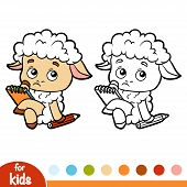 Coloring Book For Children, Sheep Writer With A Pencil And A Notebook poster