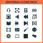 Multimedia Icons Set With Video, Rewind, Mute And Other Smile Elements. Isolated  Illustration Multi poster