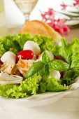 stock photo of roast chicken  - salad with chicken mozzarella and tomatoes - JPG