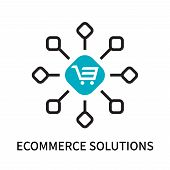 Ecommerce Solutions Icon Isolated On White Background. Ecommerce Solutions Icon Simple Sign. Ecommer poster