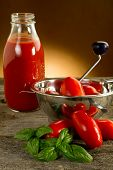 stock photo of household farm  - food mill with tomatoes and sauce - JPG