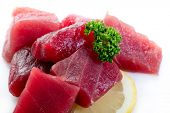 pic of yellowfin tuna  - raw tuna on white background - JPG