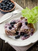 stock photo of lamb chops  - lamb rib with blueberries sauce - JPG