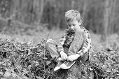 Promoting Child Development. Little Boy Relax In Woods. Little Boy Develop Physical Ability. Put Chi poster