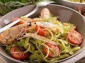 picture of norway lobster  - green tagliatelle with norway lobster - JPG