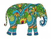 Drawing Stylized Elephant. Freehand Sketch For Adult Anti Stress Coloring Book For Adultpage With Do poster