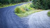 picture of divergent  - High road and low road diverge in the countryside - JPG